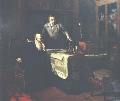 О. С. Попов демонструє адміралу Макарову свій радіоприймач З картини художника І. Сорокіна